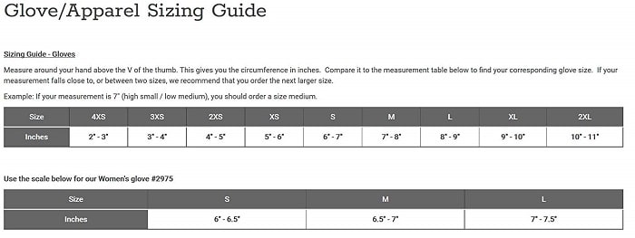 Caiman rappelling glove sizing guide