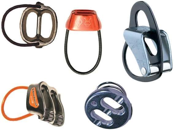 various belay devices with two holes