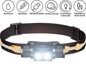 SLONIK 1000 Lumen Rechargeable Headlamp
